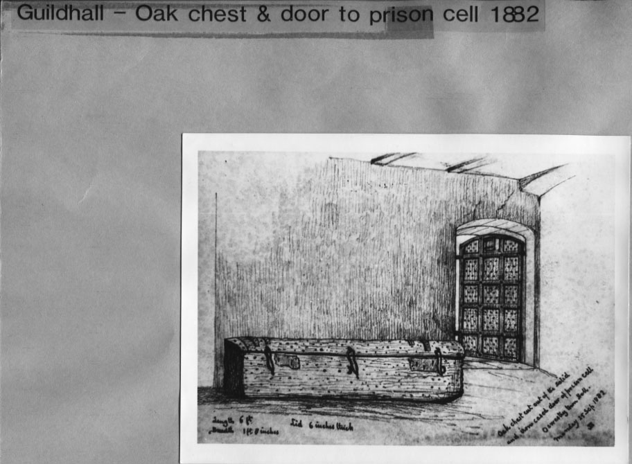 PH-O-5-2-42 - Guild Hall - oak chest & door to prison - 1882