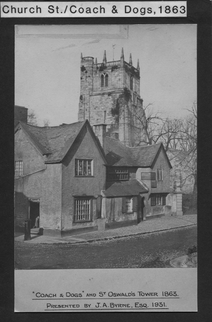 PH-O-5-6-11 - Coach & Dogs & St Oswald's Tower, 1863