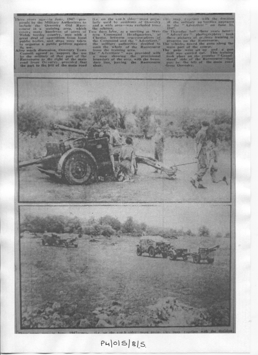 PH-O-5-8-5 - Racecourse to be used as military training area - with article - 1950