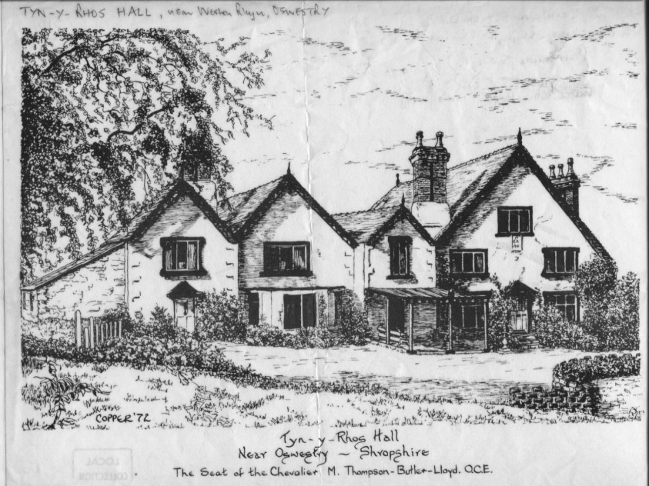 PH-W-39-7 - sketch of Tyn-y-Rhos Hall - 1972