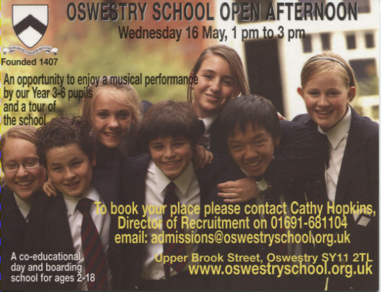 PC-O-85-1 - Advert for Oswestry School 2007
