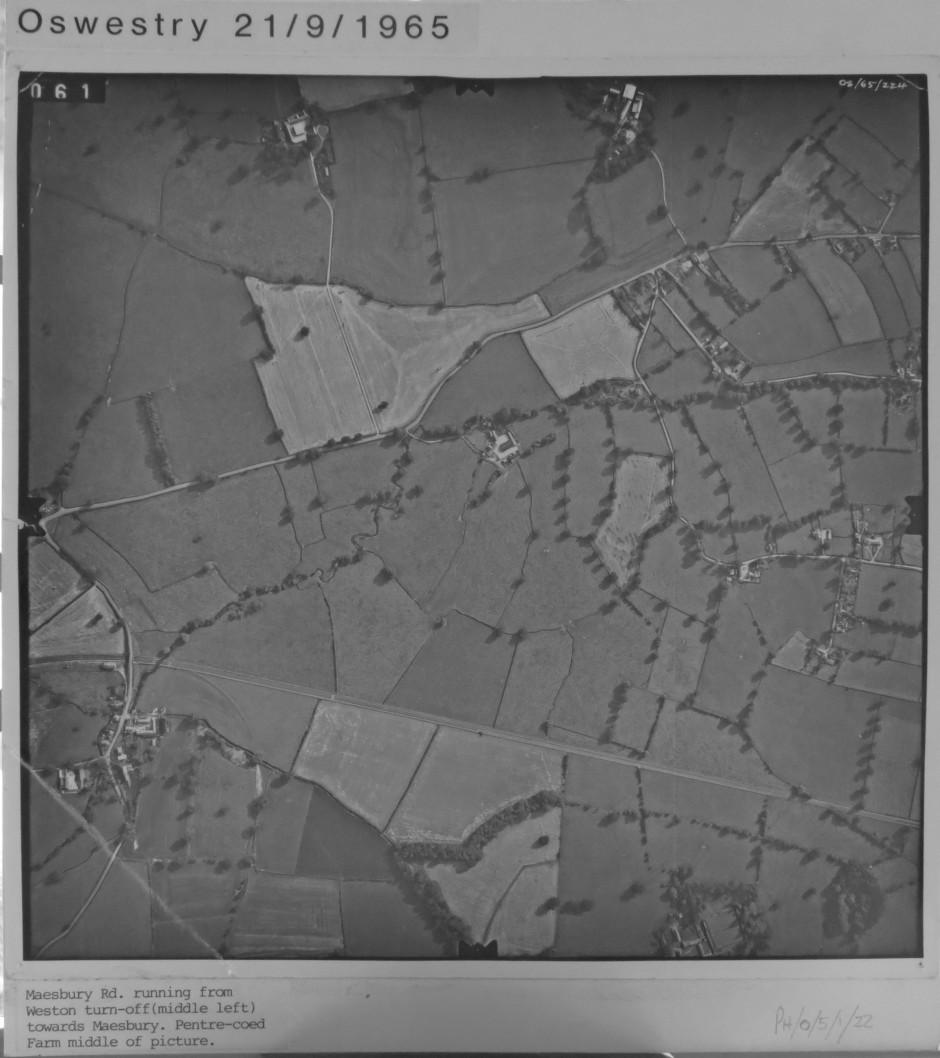 PH-O-5-1-22 - Maesbury Road, Pentre-Coed Farm in centre  - 1965