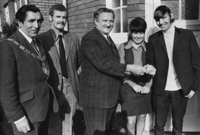 PH-O-5-15-98 - Brian Charlton receives keys for last council house - 1973