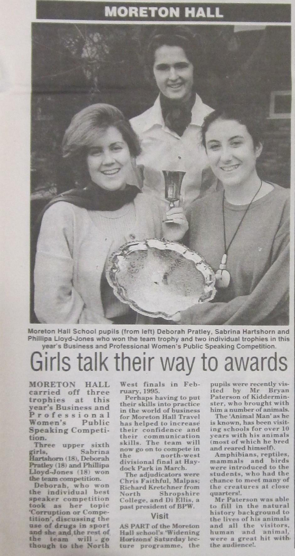 NM-M-29-10 - Moreton Hall Girls in Public Speaking Comp - 1997