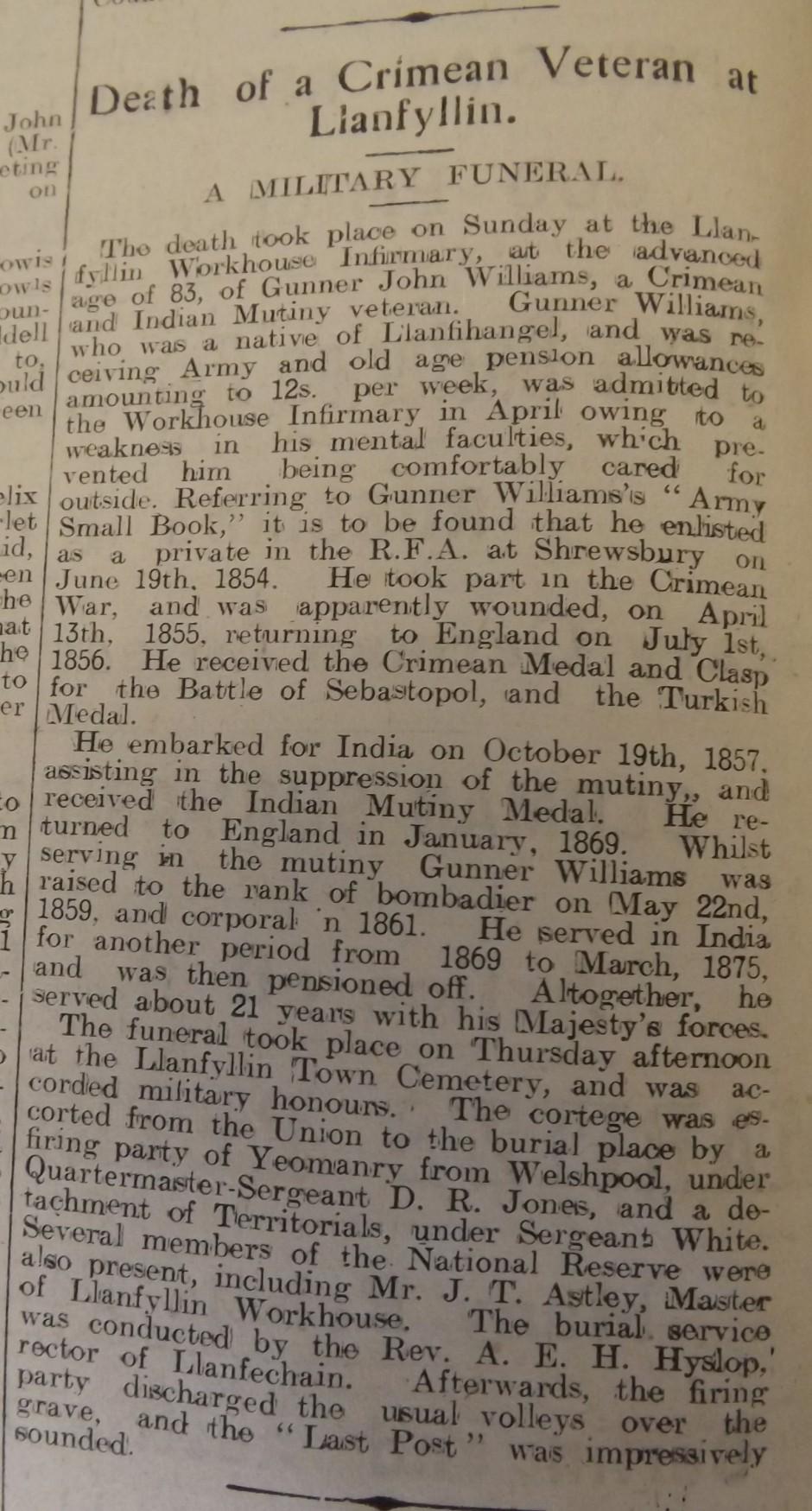 NP-L-39-15 - John Williams Crimean Veteran dies 1914