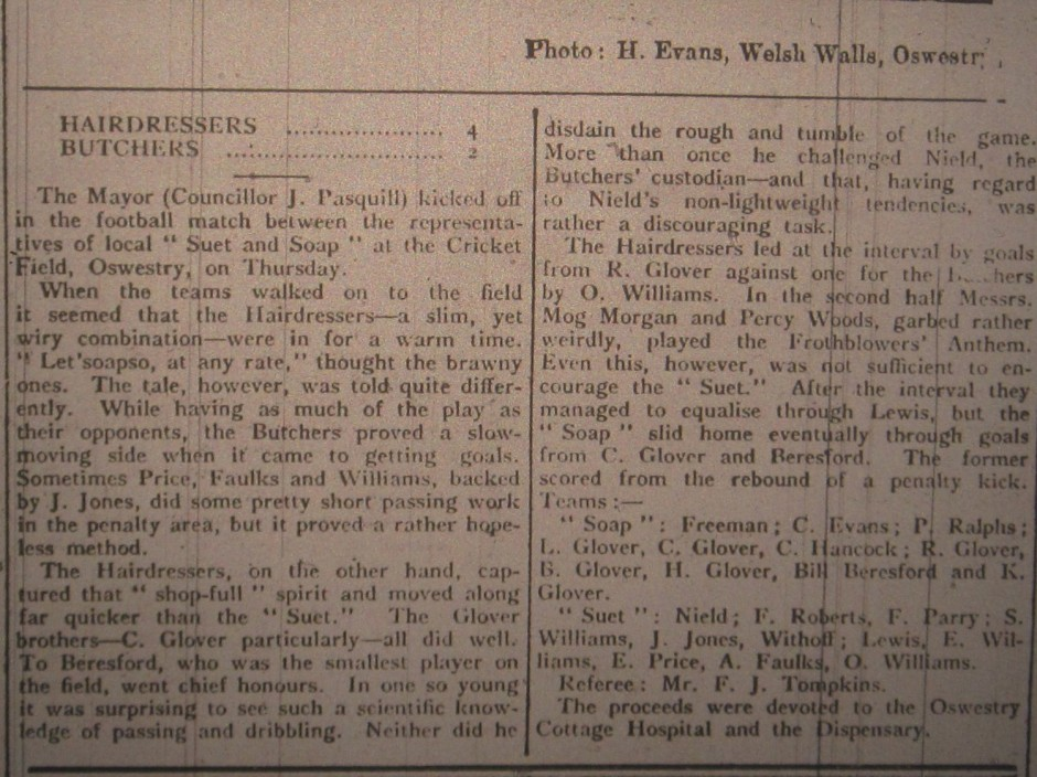 NP-Sport- 8b - Hairdressers v  Butchers - 09 Feb 1927