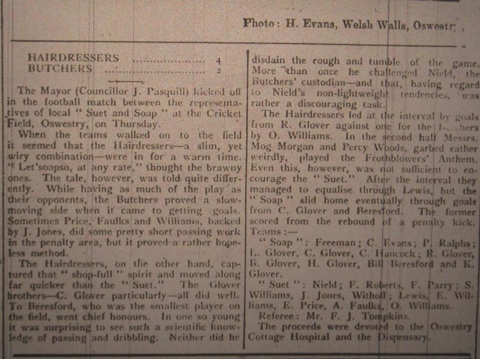 NP-Sport- 8b - Hairdressers v  Butchers - 09 Feb 1927