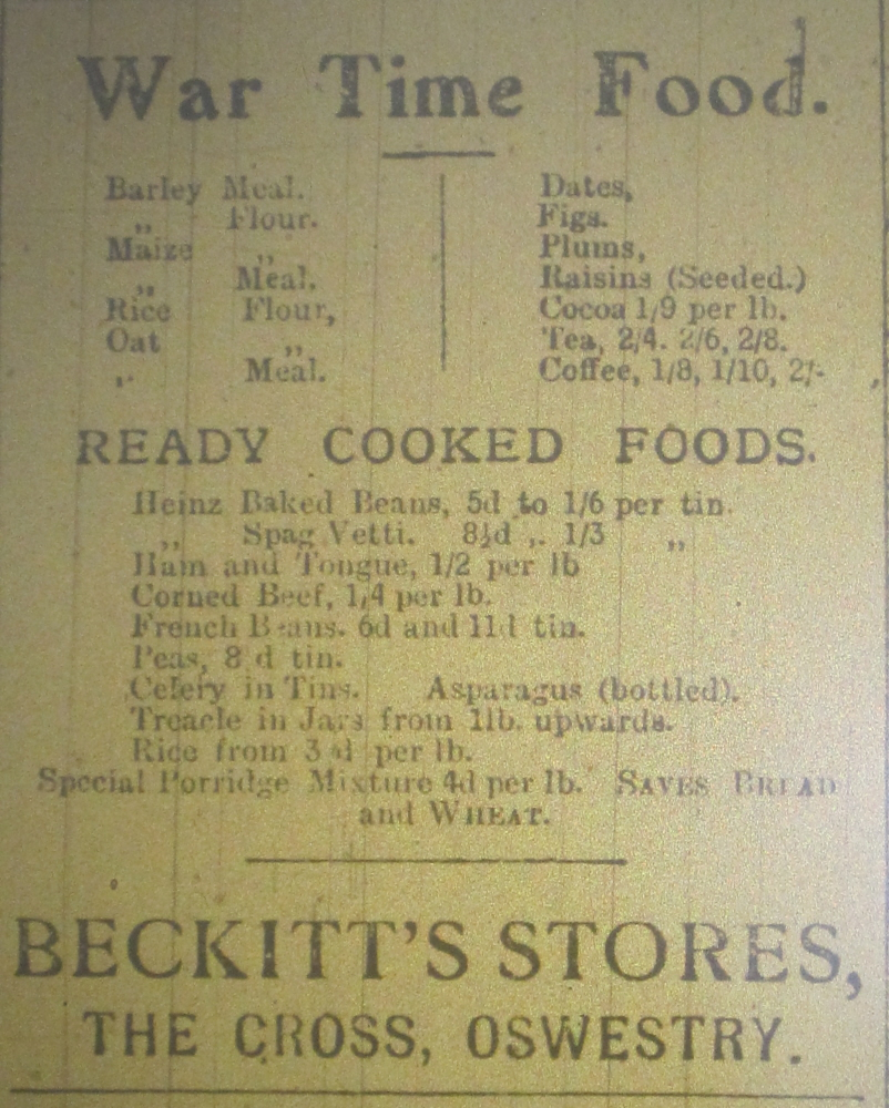 NP-WW1- Beckitts Stores Advert