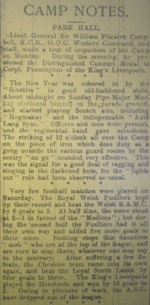 NP-WW1- Park Hall Notes Jan 03 1917- 1