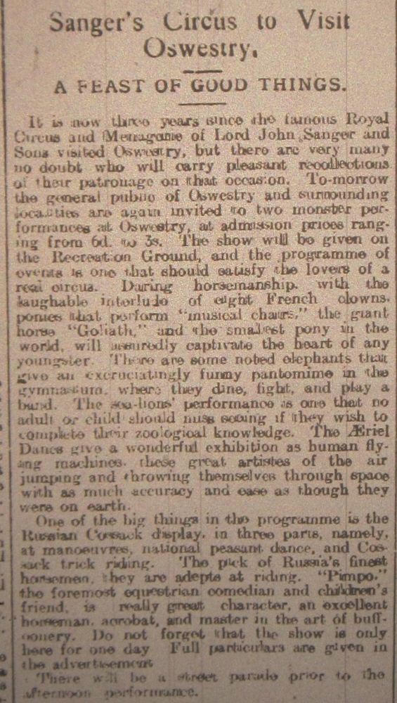NP-WW1- Sangers Circus at Oswestry - 1915