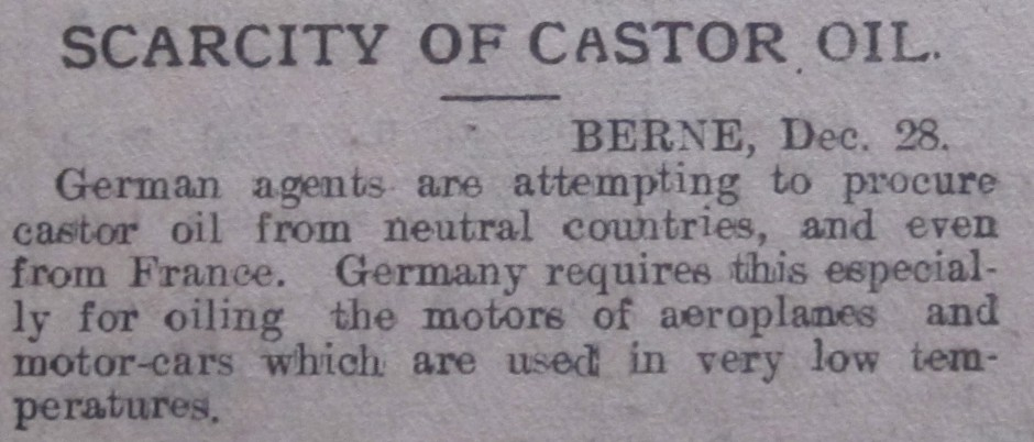 NP-WW1- Scarcity Castor Oil Dec 1914