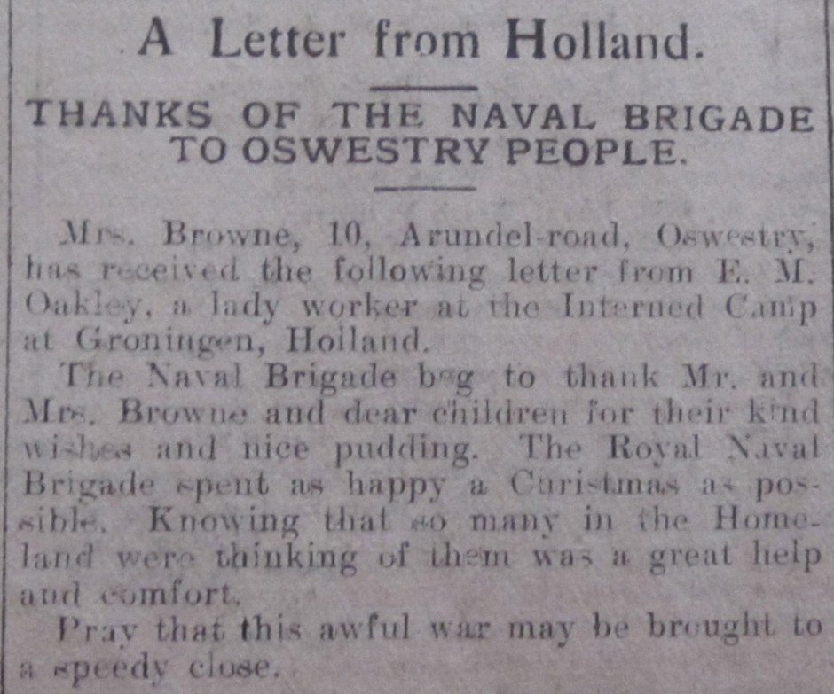 NP-WW1- Thanks from Holland - Jan1915