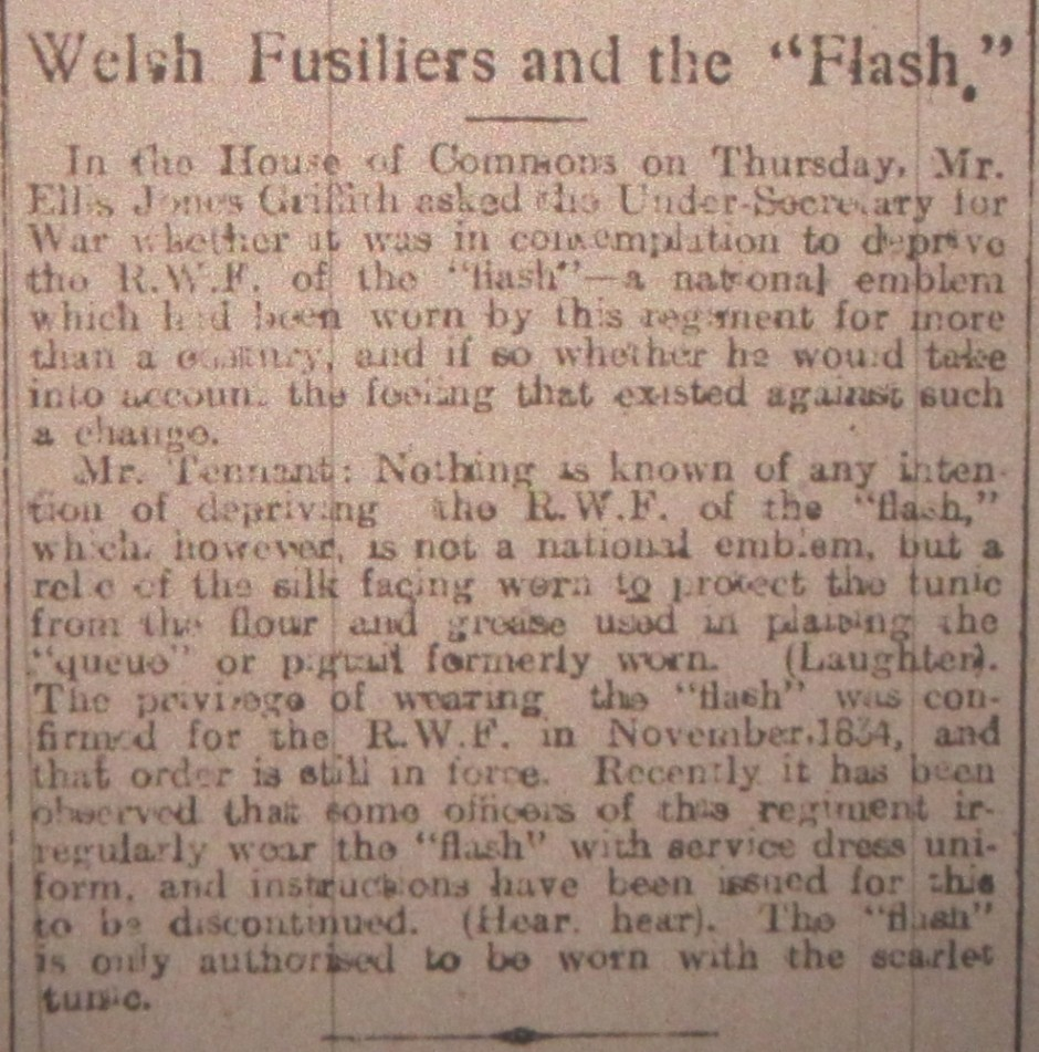 NP-WW1- Welsh Fusiliers - Flash