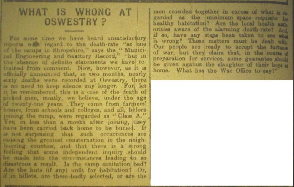 NP-WW1- What is Wrong at Oswestry