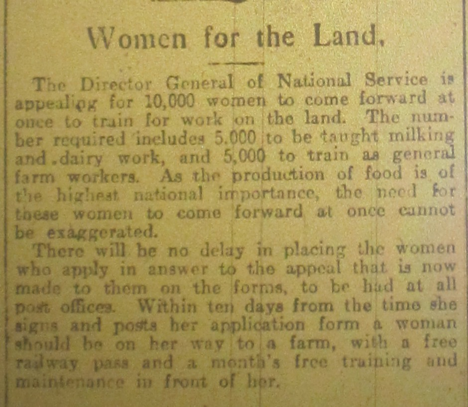 NP-WW1- Women for Land - April 1917