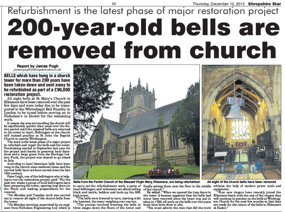 NP-E-8-20-38 - Ellesmere Church Bells removed
