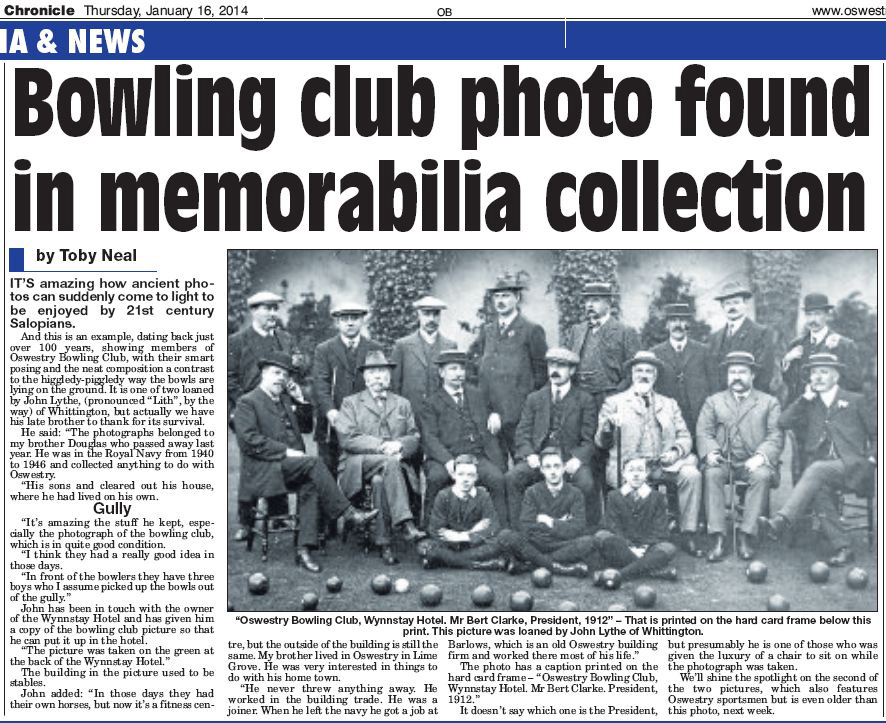 NP-O-5-6-155 - Wynnstay Bowling Club 1912