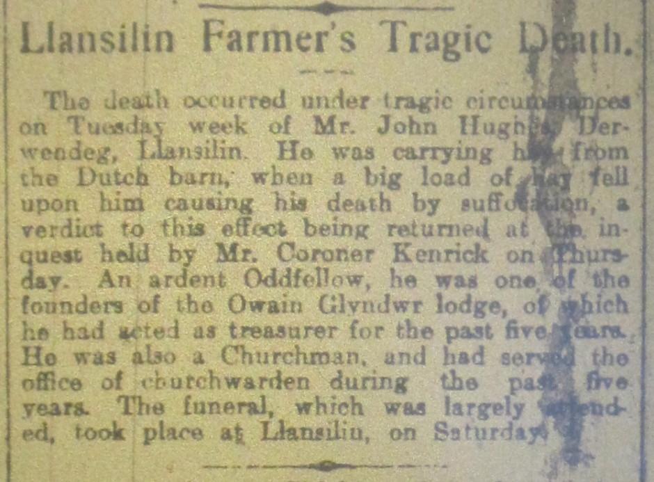NP-L-17-13 - Farmer John Hughes dies 1917