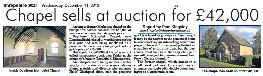 NP-L-45-8 - Deytheur Methodist Chapel Sold