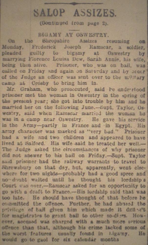 NP-WW1- Bigamy at Oswestry