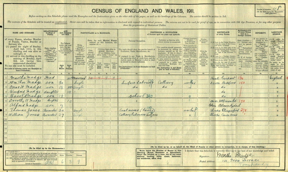 OSW-Bailey-1911 Census for William JONES