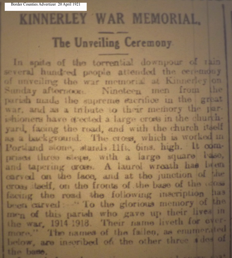 OSW-WM-Kinnerley April 20 1921 - 1
