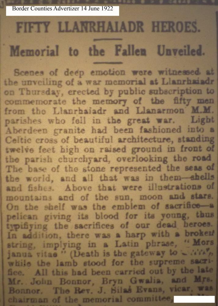 OSW-WM-Llanrhaiadr June 14 1922 - 1