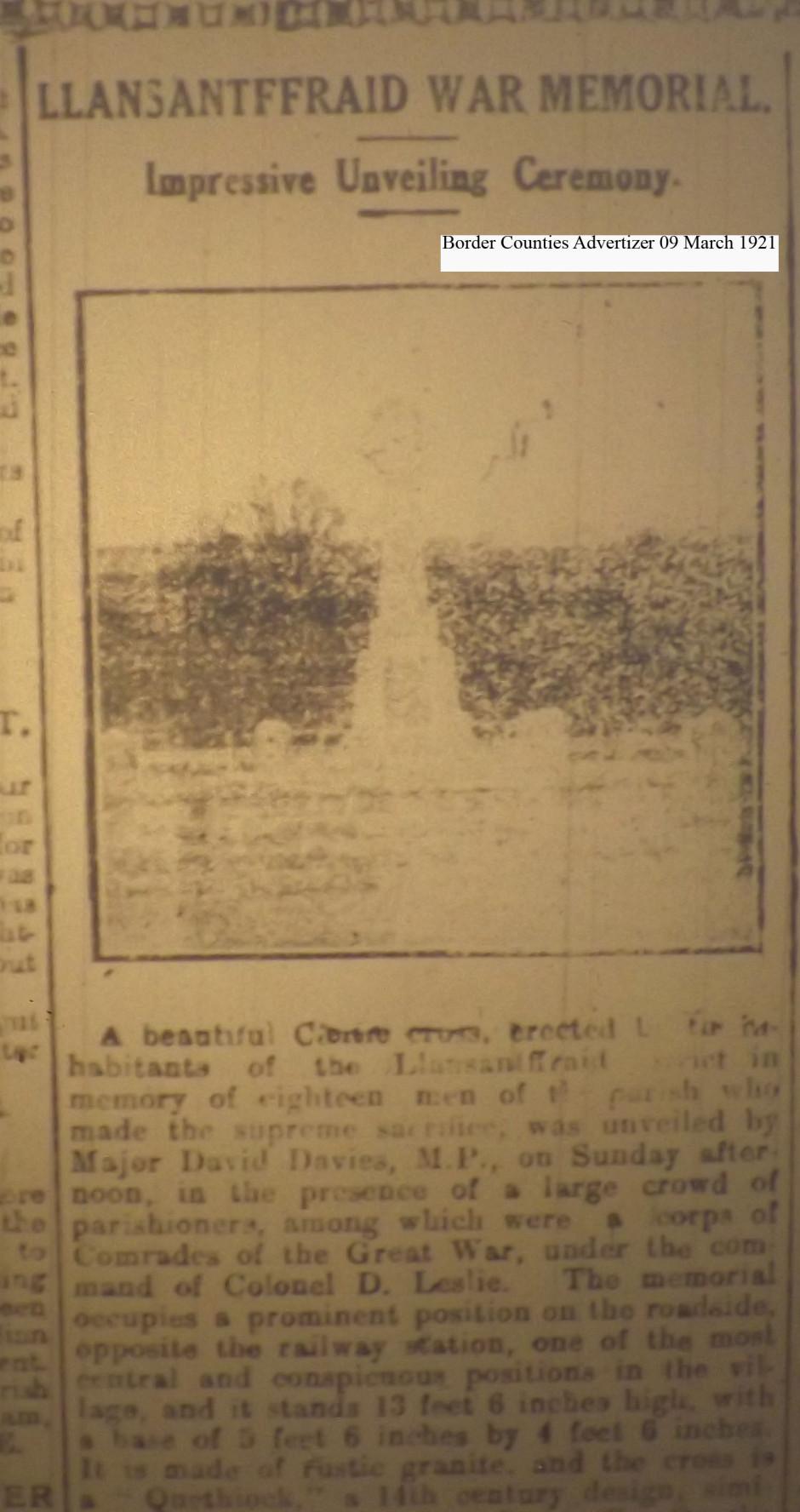 OSW-WM-Llansanffraid  March 09 1921 - 1