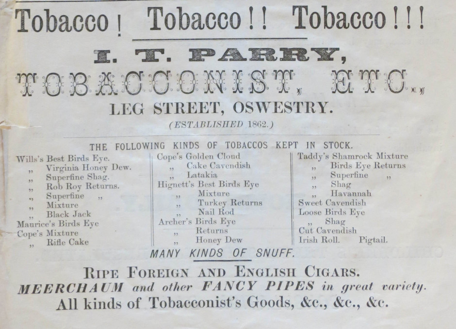 NP-O-5-11-39  - I T Parry Tobacconist 1873