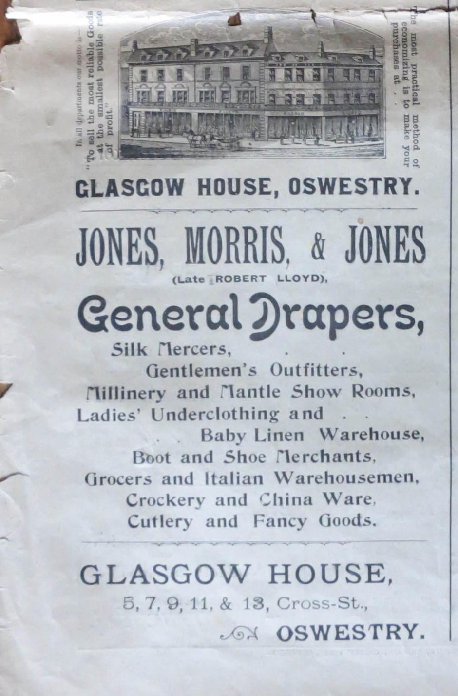 NP-O-5-7-49 - Jones, Morris & Jones - Advert 1899