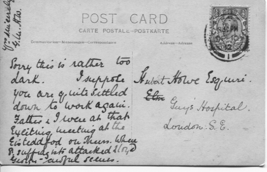 Postcard to H Howe Guys Hospital 1912 - rear of