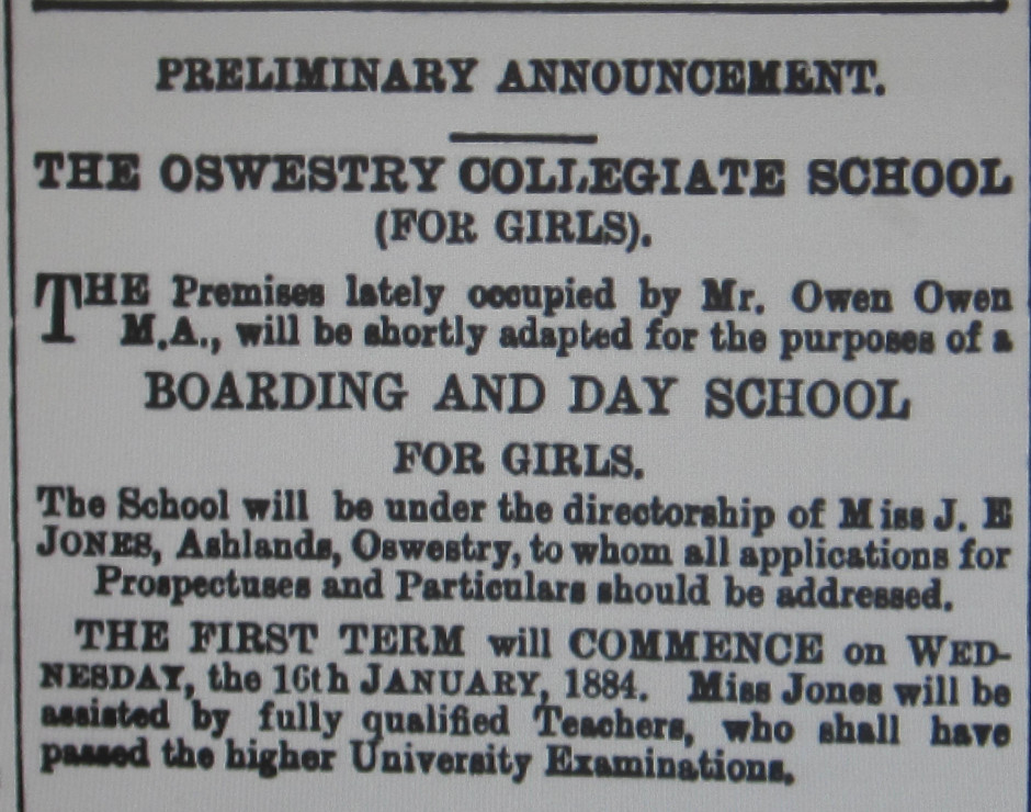 NM-O-53-4 - Oswestry Collegiate School 1884