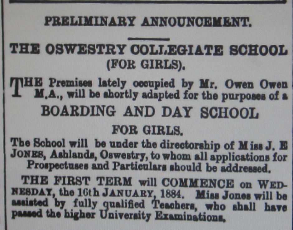 NM-O-53-4 - Oswestry Collegiate School 1884