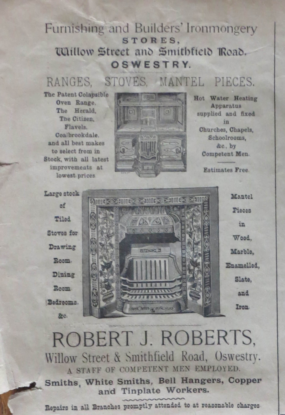 NP-O-5-18-16 - Robert J Roberts advert 1899