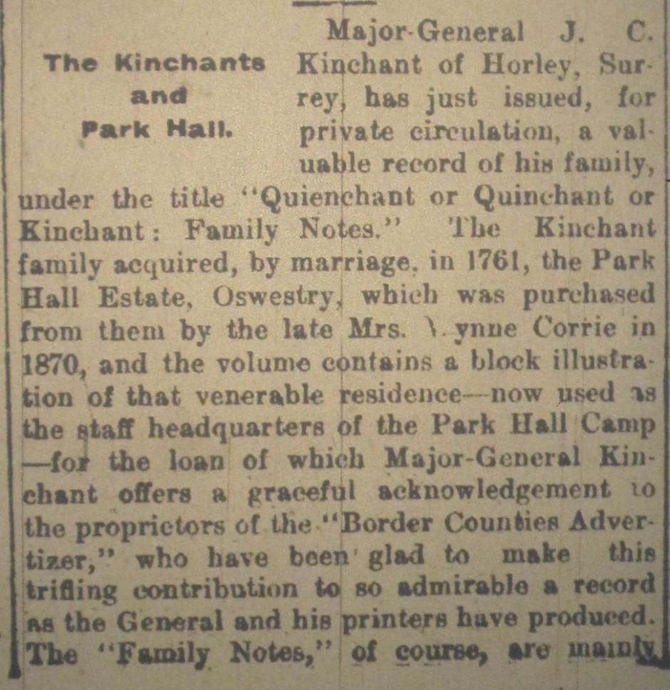 NP-P-2-9 - Kinchants of Park Hall 1917