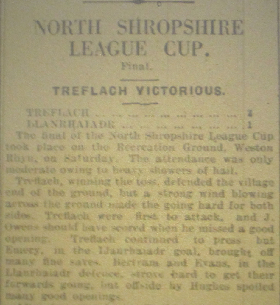 NP-Sport-21 - Treflach team v Llanrhaiadr Report - April 1932