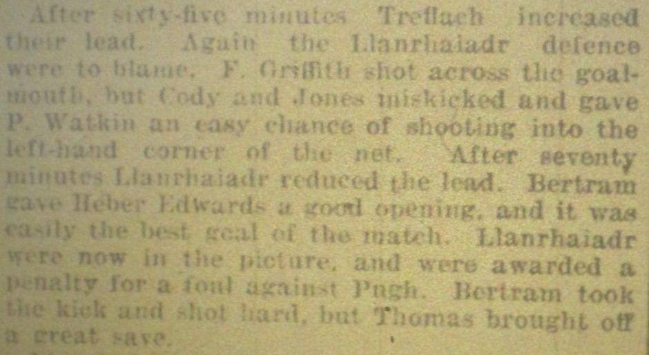 NP-Sport-23 - Treflach team v Llanrhaiadr Report - April 1932