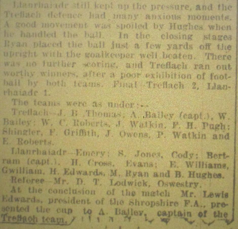 NP-Sport-24 - Treflach team v Llanrhaiadr Report - April 1932