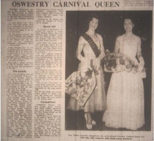 On the left, Miss Wilma Lamond, Llangedwyn , the newly elected Oswestry Carnival Queen for 1958